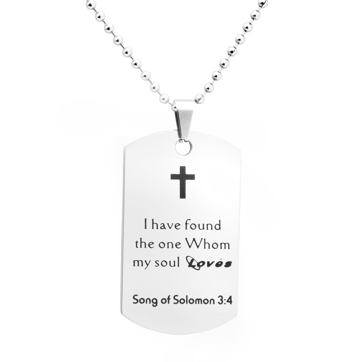 Kingmaruo Bible Verse Necklace Inspirational Christian Gift Stainless Steel Dog Tag Pendant with Ball Chain 24'' (Song of Solomon 3:4)