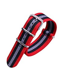 22mm Red/Black/Grey Luxury Exquisite Colorful Men's One-piece NATO style Nylon Watch Bands Straps