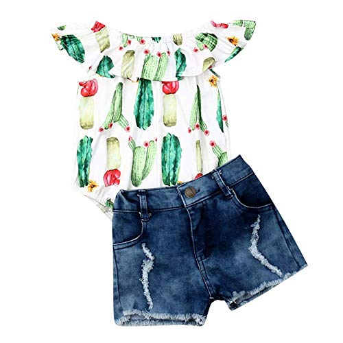 - 2PCS Toddler Baby Girl Cactus Outfit Kid Summer Off Shoulder Ruffle Romper Tops+Ripped Denim Shorts Clothes Set (Cactus, 12-18 Months)