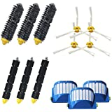 VacuumPal Replacement Parts Kit Including Bristle & Flexible Beater Brush & 3 Armed-3 Side Brush & Aero Vac Filters for iRobot Roomba 600 Series 620 630 650 660 680 Vacuum Cleaner.