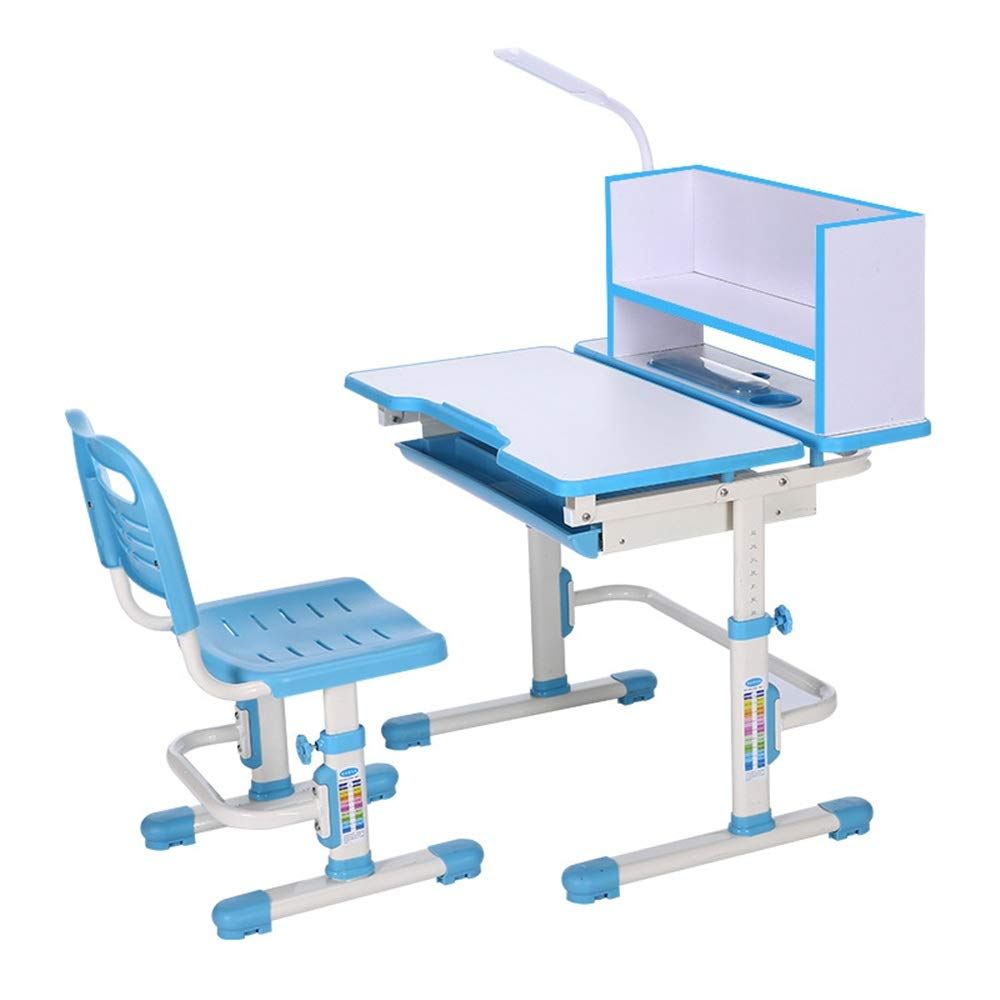 Limaomao-Home Kids' Desks Desk Chair Set Desk and Chair Set Multi-Functional Childen Kids Study Table School Student Desk Book Stand Height Adjustable That Make Doing Homework More Fun (Color : Blue) by Limaomao-Home