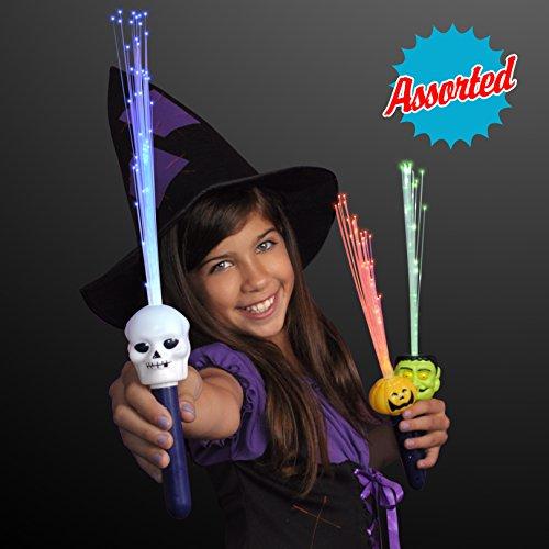 Assorted Flashing Fiber Optic Halloween Wands(Set of 12)