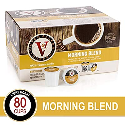 Morning Blend for K-Cup Keurig 2.0 Brewers, 80 Count, Victor Allen's Coffee Light Roast Single Serve Coffee Pods