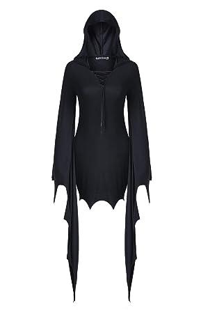 Darkinlove Robe Chauve-Souris Moulante Noire à Capuche et laçage ... b3c23adf484
