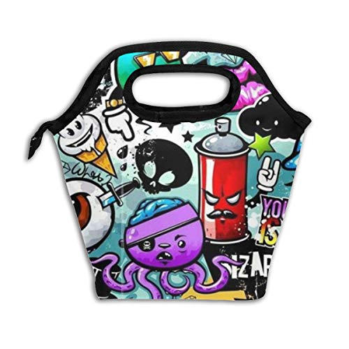 Cartoon Graffiti 2.jpg Reusable Insulated Lunch Bag Cooler Tote Box with Zipper Closure for Woman Man Work Pinic Or Travel