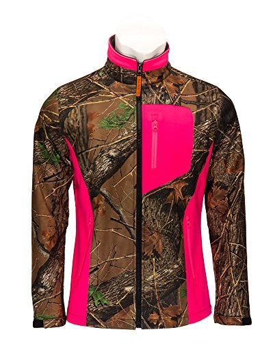 Custom Camo (Trail Crest Women's Camo & Neon Colors Custom Soft Shell Waterproof Jacket, XL, Pink)