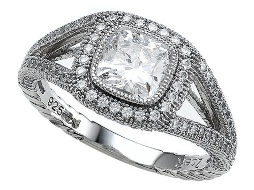 Zoe R Sterling Silver Micro Pave Hand Set Cubic Zirconia Halo Cushion Cut Engagement Ring Size 5