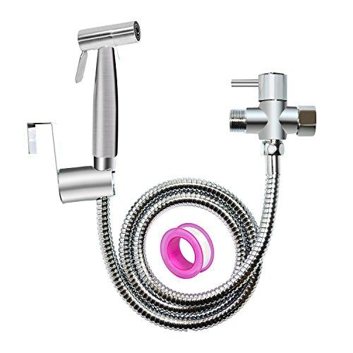 Less Hand Sprayer (Hand Bidet Sprayer for Toilet Attachment-Stainless Steel Handheld Toilet Sprayer gun Kit for Bathroom Self Cleaning with Clean diaper)