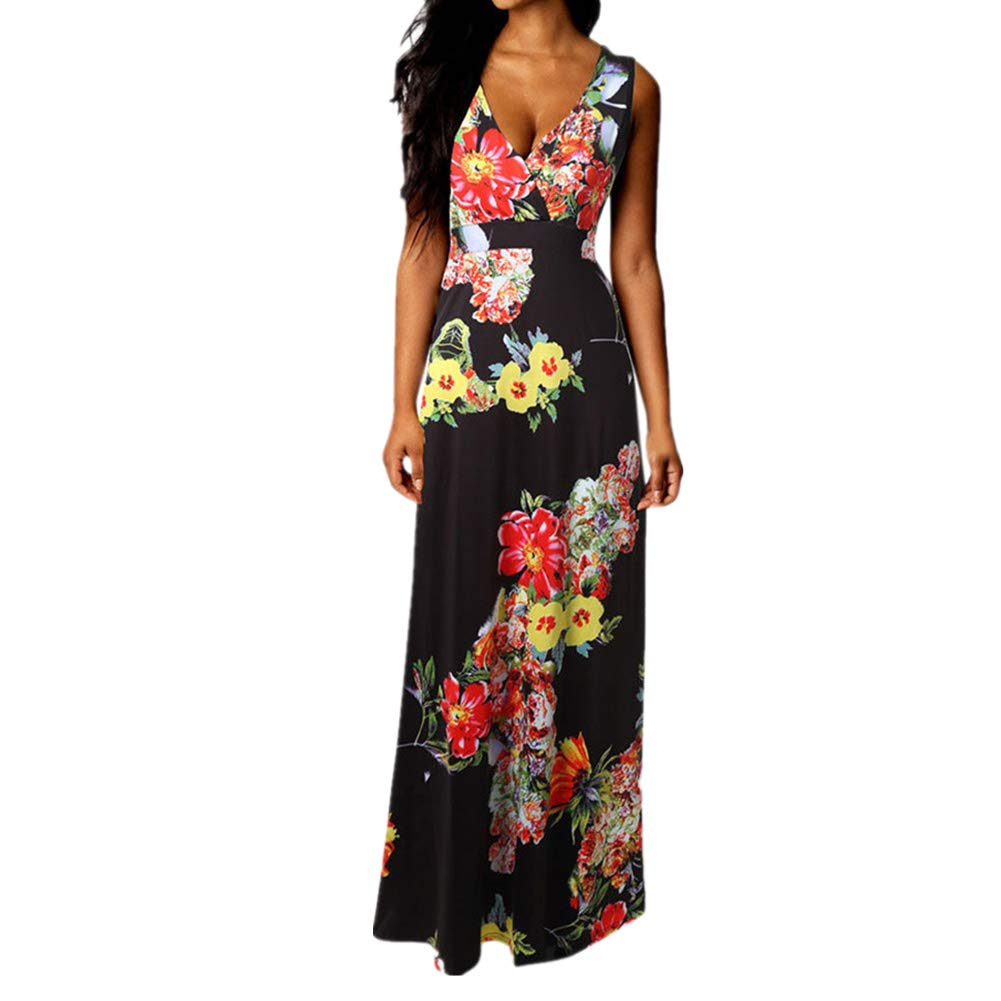 Womens Dresses Women's Print Summer Patchwork Short Sleeve Plus Size Casual Long Maxi Dress