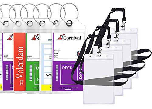 Cruise Tags Luggage Etag Holders Zip Seal & Steel Loops Thick PVC (8 Pack + 4 ID Holders)