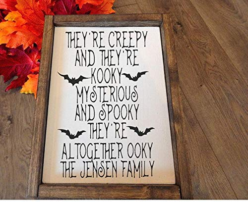 Songs With Halloween Theme (Addams Family Theme Song Halloween Sign/Halloween Decor // Spooky and Creepy // Personalized Addams)