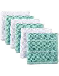 DII 100% Cotton Ultra-Absorbent Cleaning Drying Luxury Chef Terry Dish Cloths for Everyday Kitchen Basic 12 x 12 Set of6- Aqua/White