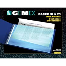 """Gemex Pagex Top Load Page Holder for 11 x 17"""" Documents, Archival Safe Polypropylene, 3 ml, 10 per Pack, Clear"""