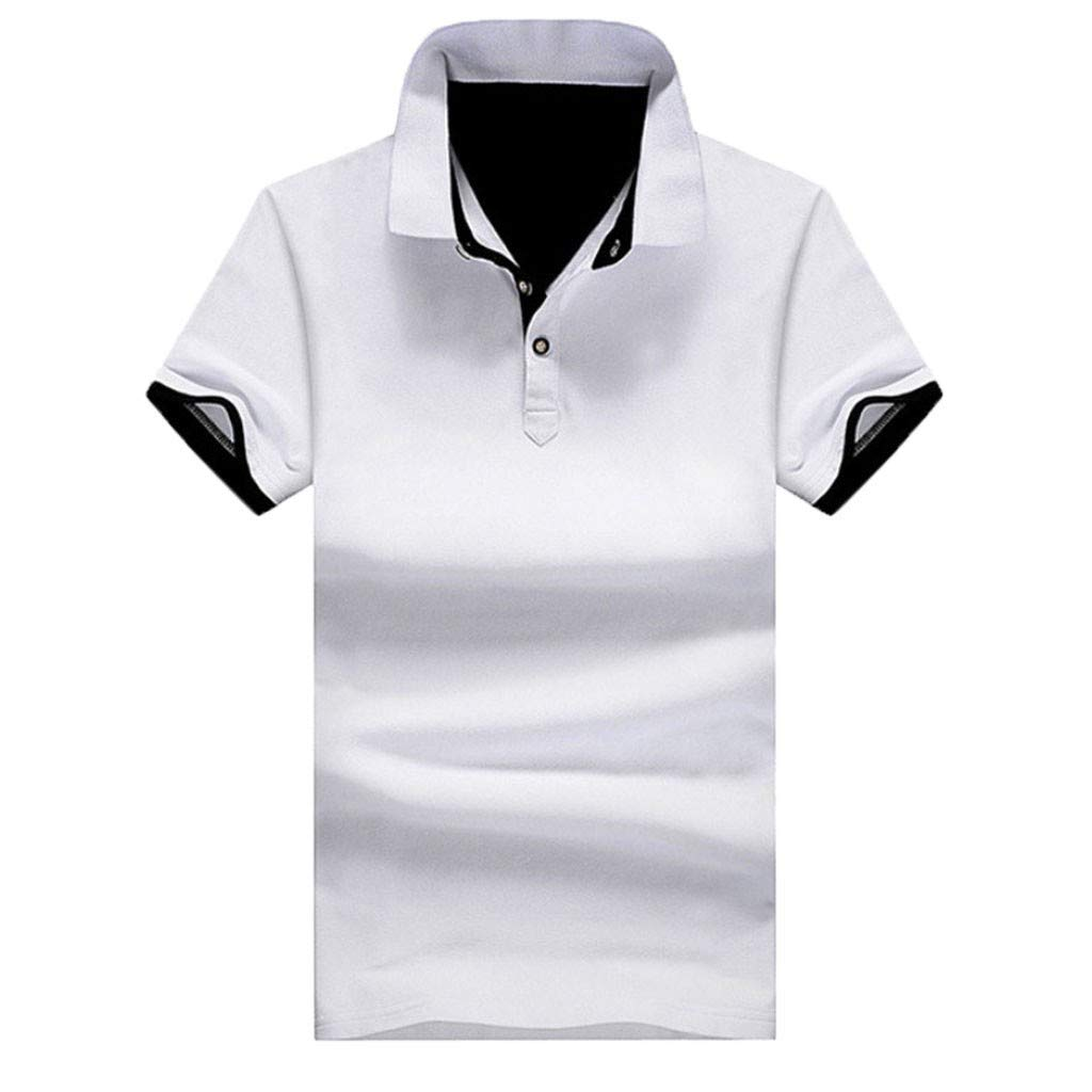 Mlide Mens Casual Slim Fit Polo T-Shirts Basic Designed Summer New Pure Collar Short Sleeves Casual Top,Beige L