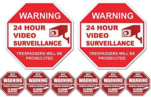Two '24 Hour Video Surveillance PVC Signs (9