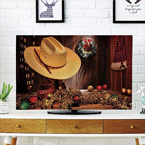 (LCD TV dust Cover Strong Durability,Western Decor,Farmhouse with Christmas Decorations with Wreath Americana Style Image Print,Cream Brown,Picture Print Design Compatible 70