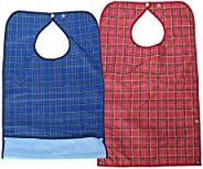 Waterproof Adult Bibs,Washable Reusable Clothing Protecto Mealtime Bib Double Layer Elder Dinning Extra Long B