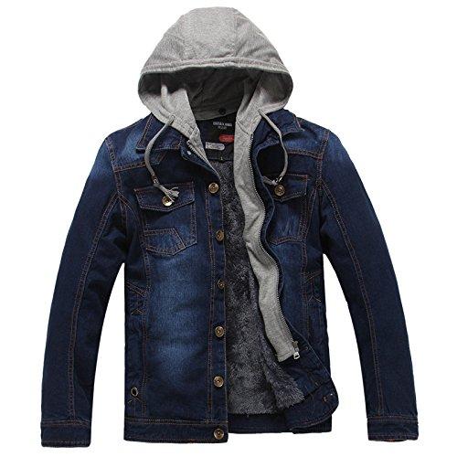 Vjibmt Les Hommes est décontracté Veste en Denim, Les Jeans, Chaud vêteHommests pour Hommes, Veste en Denim,Bleu Marine,l