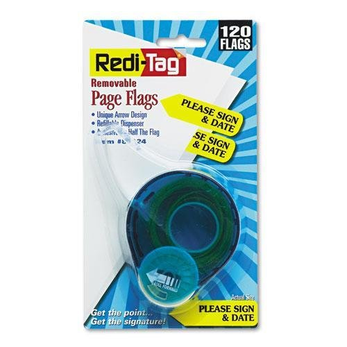 (Redi-Tag Preprinted Signature Flags In Dispenser, PLEASE SIGN & DATE, Yellow)
