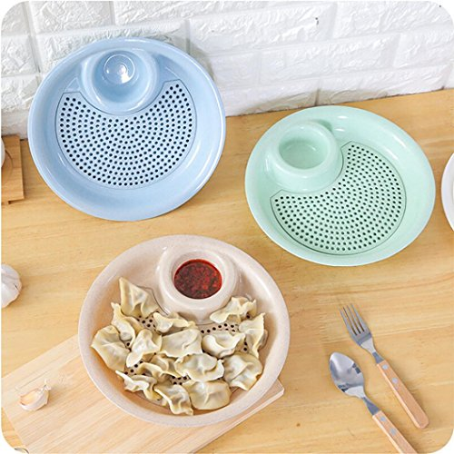 Sinwo Household Double Layer Drain Dumplings Dish Wheat Straw Fruit Tray Fan Shaped Plate (Beige Deck Mat)