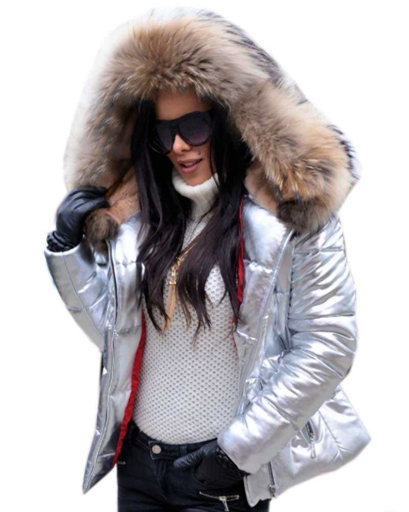 Roiii Women Winter Warm Thick Color Block Faux Fur Coat Outdoor Hood Parka Long Jacket Size 8-20 (Medium, Amry Green)