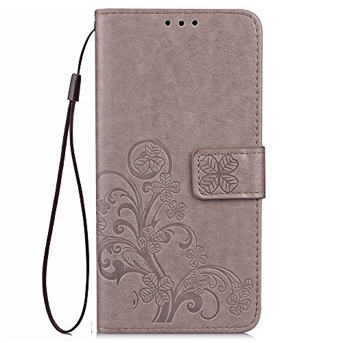 Galaxy J3 2018,J3 Achieve,J3V J3 V 3rd Gen,Amp Prime 3 Case,[Flower Embossed] Leather Wallet Flip Folio Protective Case Cover with Card Holder and Stand for Samsung Galaxy J3 2018 J337 (Gray)