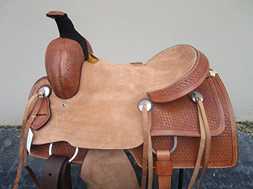15 16 17 WESTERN ROPING RANCH ROPER RANCH COWBOY TRAIL BASKET WEAVE PLEASURE BARREL TOOLED LEATHER HORSE SADDLE (16)