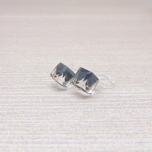 Clip On Earrings 6mm Offset Glass Rhinestone Cube for Non-Pierced Ears, Gray/Blue