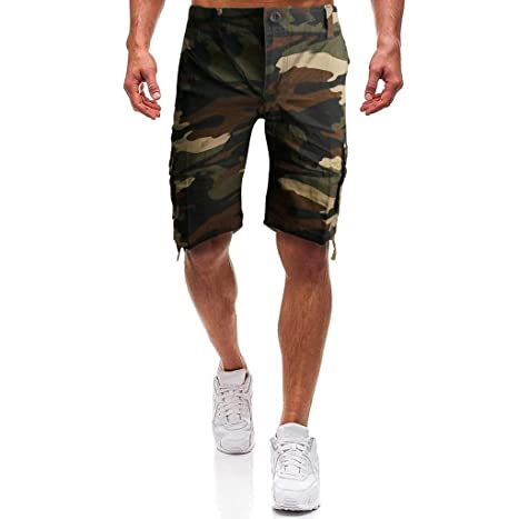 Daorokanduhp Mens Cargo Shorts Elastic Waist Twill Relaxed Fit Multi-Pockets Outdoor Casual Shorts Fashion Slacks Pants