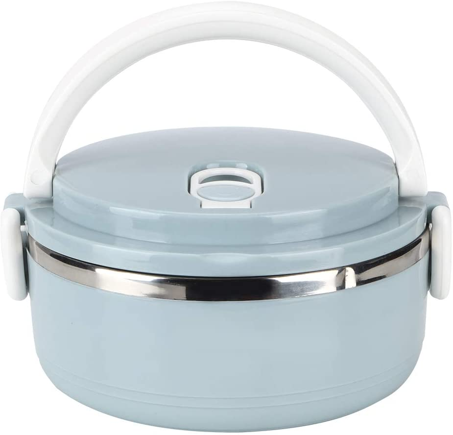 Lunch Box, Portable Stainless Steel Blue Thermal Insulated Rice Noddles Lunch Box Good Sealing Food Container with Air Hole(01)