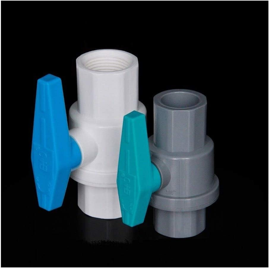 Color : Inner Dia 20mm, Diameter : White 1pc 20~63mm 1//2~2 PVC Ball Valve Garden Irrigation Water Supply Globe Valve Aquarium Tank Water Pipe Connectors