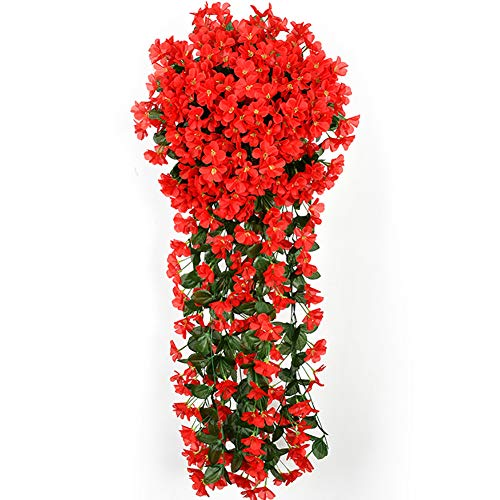 LAAT Faux Hanging Flower Artificial Flowers Vine Artificial Garland Wreaths Decor Artificial Plants Plastic Fake Tree Plants Fake Artificial Topiary Plant Potted Wall Hanging Flower