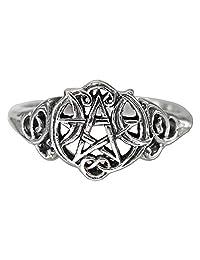 Sterling Silver Heart Pentacle Wiccan Pentagram Ring (Size 4-15)