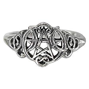 sterling silver heart pentacle wiccan pentagram ring size 4 15