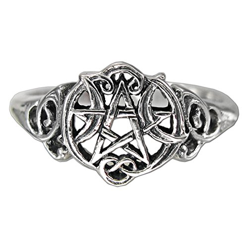 Sterling Silver Heart Pentacle Wiccan Pentagram Ring