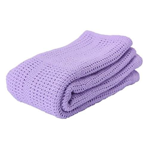 Baby Crochet Edging Blanket (Cotton Crochet Newborn Baby Blankets Blanket Summer Sleeping Bed Supplies Hole Wrap Purple)