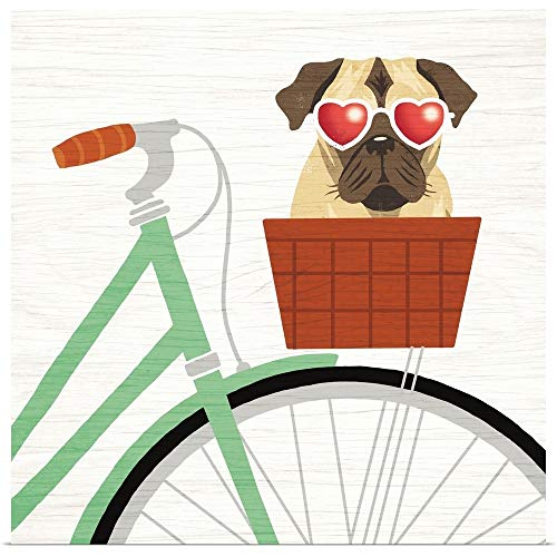 GREATBIGCANVAS Poster Print Entitled Beach Bums Pug Bicycle I by Michael Mullan 35