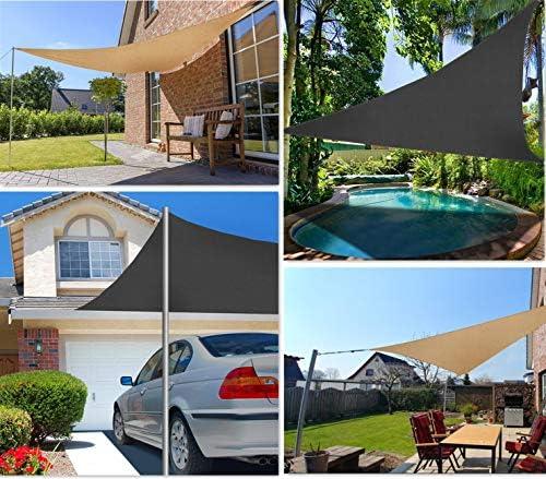 Sekey Toldo Vela de Sombra Triángulo HDPE Protección Rayos UV Resistente Permeable Transpirable para Patio, Exteriores, Jardín, 3× 3× 3m Antracita, con Cuerda Libre y Kit de Montaje: Amazon.es: Jardín