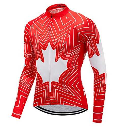 Canada Men's Cycling Jersey Long Sleeve Jacket Funny Bike Clothing Quick Dry Breathable Maple Leaf Size XL