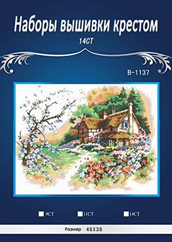 Zamtac Top Quality Lovely Counted Cross Stitch Kit B-1137 dim13687 Cottage Enchantment Similar dmc Threads - (Cross Stitch Fabric CT Number: 18CT unprinting aida)