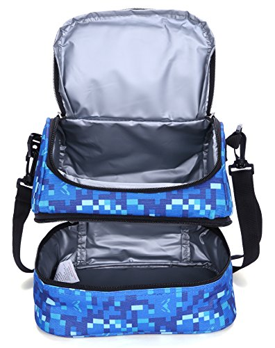 MIER Double Decker Insulated Lunch Box Soft Cooler Bag Thermal Lunch Tote with Shoulder Strap (Blue) by MIER (Image #4)