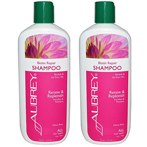 Aubrey Organics Biotin Repair Shampoo for All Hair Types with Baobab and He Shou Wu and Citrus Rain Scent, 11 fl oz (325 ml) (Pack of 2)