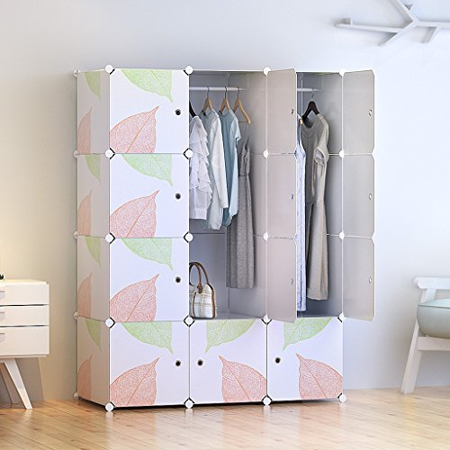Tespo Portable Clothes Closet Wardrobe, DIY Modular Storage Organizer, Sturdy Construction, 12 Deeper Cubes with Hanging Rods, Leaf White (Wooden Shelf With Hanging Rod)