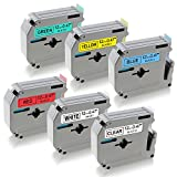MK231 MK131 MK431 MK531 MK631 MK731 Compatible Brother Label Maker Tape 12mm (0.47''),P-touch M Tape Brother pt-90 ptm95 Label Tapes Set, 6 Pack(Black on Clear White Red Blue Yellow Green)