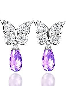 Elda & Co. Jewelry Butterfly Dangle Earrings -18k Gold Plated Sterling Silver Drop Earrings - Genuine Gemstone Jewelry - Anniversary and Birthday Gifts Christmas Present Jewelry for Women