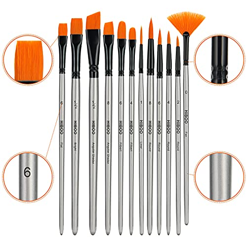 HIBOO Art Paintbrush Set-12 Different Sizes of Professionals PaintBrushes Wood Handles with Oil-Sealing Technique for Watercolor Acrylic Oil , Face and Nails Painting