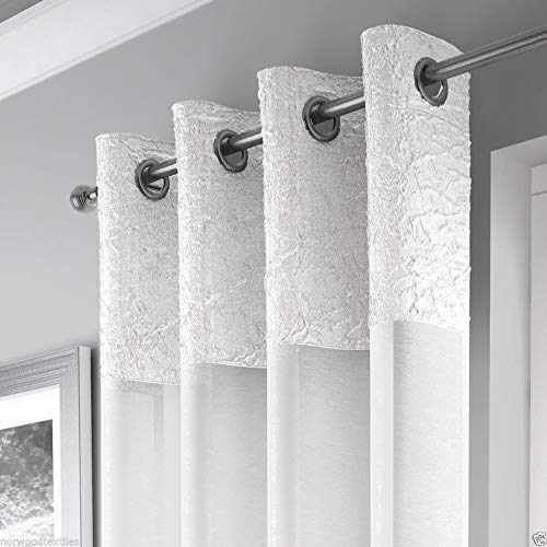 Mirabel Elegant Crushed Sheer Window Curtain Panel with Eyelet Grommet Top 55