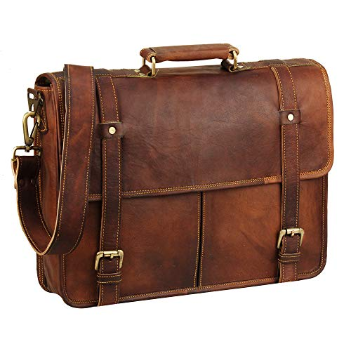 15 Inch Brown Vintage Leather laptop messenger bag for mens Leather computer Shoulder briefcase bags briefcases for men 's and women's | A perfect companion for college, office and travel By HULSH