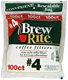 4 cup cone coffee filter - Brew Rite #4 Cone Coffee Filters, White Paper, 100-Count Bags (Pack of 8)