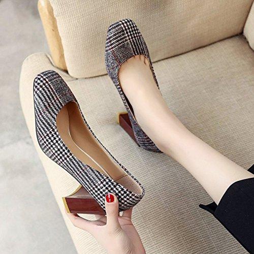 Xue Qiqi Kopf Kopf Kopf dick mit einzelnen Schuhe Frauen Schuhe retro - style Raster Qualität high-heel Schuhe 8d2147